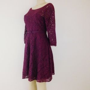 WHBM Dress 8P Burgundy Lace Fit Flare